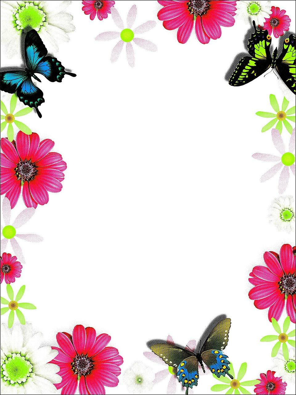 תמונות ורקעים לברכות מסגרת פרחים ופרפרים